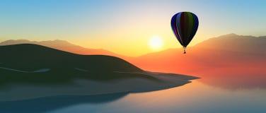varm solnedgång för luftballong Royaltyfria Bilder