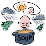 Varm soppa och kyligt väder stock illustrationer