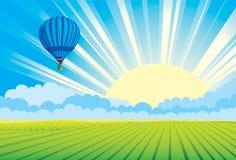 varm sundown för luftballong Fotografering för Bildbyråer
