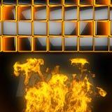 Varm svart metallbakgrund med brand Arkivbilder