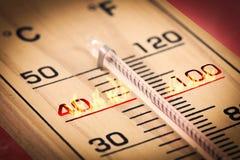 Varm temperatur Fahrenheit för närbild eller celsiust Arkivbilder