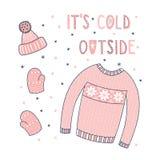 Varm vinterkläder stock illustrationer