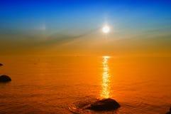 varm yellow för solnedgång Arkivfoto