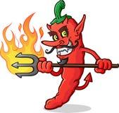 Varma Chili Pepper Devil Cartoon Character Arkivbild