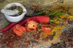 Varma Chili Peppers - örter och kryddor - mortel och mortelstöt Fotografering för Bildbyråer
