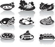 Varma disk, efterrätter, sushi, sallader och soups Royaltyfri Fotografi