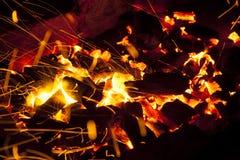 Varma gristrande levande-kol som bränner i en grillfest Royaltyfri Bild