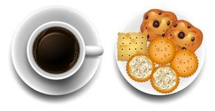 Varma kaffe och kakor på plattan stock illustrationer