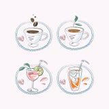 Varma kaffe och uppfriskningar Arkivfoto