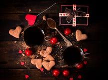 Varma kakao och kakor Fotografering för Bildbyråer