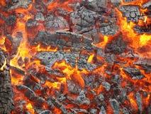 Varma kol i branden royaltyfri fotografi