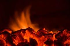 Varma kol i branden Fotografering för Bildbyråer