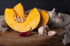 Varma kryddiga pumpasoppaingredienser Fotografering för Bildbyråer