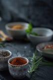 Varma kryddor i köket Arkivbild