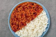 Varma läckra chili con carne och ris Royaltyfria Bilder