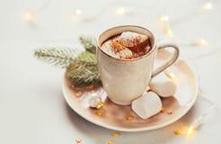 varma marshmallows för choklad Arkivfoto