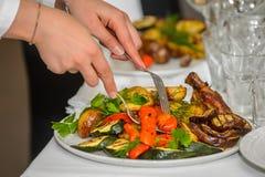 Varma mellanmål på platevegetables och höna som lagas mat på gallret Royaltyfri Fotografi