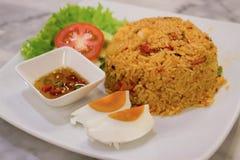 Varma och kryddiga stekte ris Arkivbild