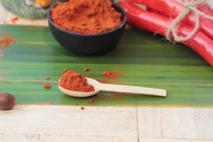 Varma peppar för kryddigt paprikapulver och ny chili Arkivfoton