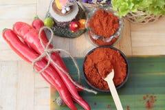Varma peppar för kryddigt paprikapulver och ny chili Fotografering för Bildbyråer