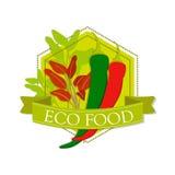 Varma peppar för logo och `en för ord`-Eco mat, Royaltyfria Bilder