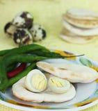 varma pepparquail för kokt ägg Royaltyfri Bild
