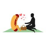 Varmkorv på picknick Datera parkerar in Snabbmat och folk royaltyfri illustrationer