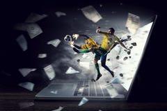 Varmmast ögonblick för fotboll Blandat massmedia Fotografering för Bildbyråer