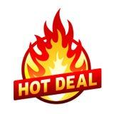 Varmt avtalsbrandemblem, prisklistermärke, flamma Arkivbild