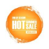 Varmt baner sommarSale för specialt erbjudande med bakgrund för cirkelborsteslaglängd för affär, befordran och kommers stock illustrationer