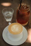 Varmt cappuccinokonstkaffe Fotografering för Bildbyråer