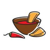Varmt dopp med nachos royaltyfri illustrationer