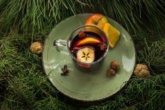 Varmt funderat vin i en kopp med ingredienser som ska lagas mat på plattan Arkivfoto