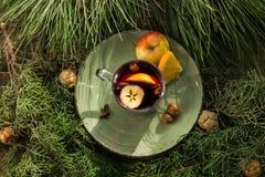 Varmt funderat vin i en kopp med ingredienser som ska lagas mat på plattan Royaltyfri Foto
