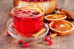 Varmt funderat vin med apelsinen Arkivbild