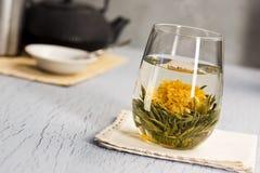 Varmt grönt te för blommande blomma royaltyfria bilder