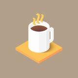 Varmt kaffe i den vita koppsymbolen Royaltyfri Bild