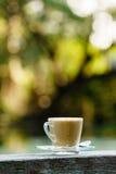 Varmt kaffe i exponeringsglas för avbrott med härlig suddighetsbakgrund Royaltyfria Foton