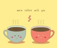 Varmt kaffe med dig vektor illustrationer