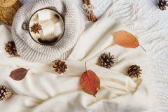 Varmt kaffe med marshmallower, halsduken, kakor, bulor och höstsidor arkivfoto