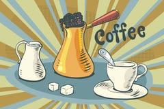 Varmt kaffe mjölkar socker och en kopp vektor illustrationer