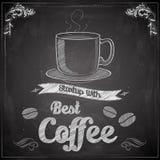 Varmt kaffe på den svart tavlan stock illustrationer