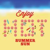 Varmt kort för sommarsolvektor med strandbakgrund stock illustrationer