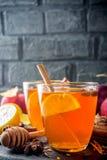Varmt kryddigt te för höstvinter fotografering för bildbyråer