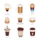 Varmt och kallt coctailmenysortiment för kaffe av coffee shopkafét, uppsättning av isolerade symboler Royaltyfria Bilder