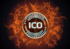 Varmt på det glödande ICO initiala myntet för brand som erbjuder det ledde hologrammet som omges av illustrationen, flammar stock illustrationer