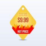 varmt pris För försäljningsetikett för specialt erbjudande pris för tecken för klistermärke för detaljhandel för symbol för rabat royaltyfri illustrationer