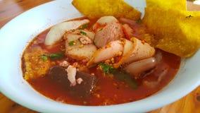 Varmt surt soppagriskött för nudel Royaltyfri Bild