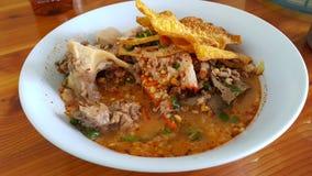 Varmt surt soppagriskött för nudel Arkivbild