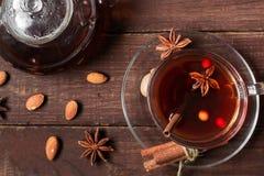 Varmt te för höst med kryddor och bär i den glass koppen Royaltyfri Fotografi
